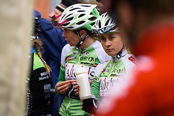 Kelly Markus waits patiently for her Lares Waowdeals team to be called to the stage - Pajot Hills Classic 2016, a 122km road race starting and finishing in Gooik, on March 30th, 2016 in Vlaams Brabant, Belgium.