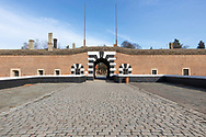 View towards and through the main entrance to The small Fortress at Terezin Concentration Camp in Terezin, The czech Republic Europe