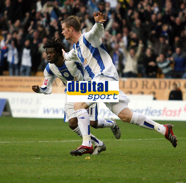 Photo: Rich Eaton.<br /> <br /> Wolverhampton Wanderers v Sheffield Wednesday. Coca Cola Championship. 28/10/2006. Chris Brunt celebrates after scoring for Sheffield Wednesday with Yoann Foley #31 to make the score 2-1 to Wednesday