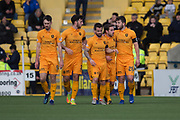 16th February 2019, Tony Macaroni Arena, Livingston, Scotland; Ladbrokes Premiership football, Livingston versus Dundee; Craig Halkett of Livingston is congratulated after scoring for 1-0 by in the 19th minute