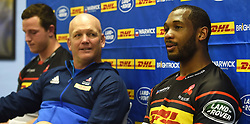 Cape Town-1800821-  WP player Sergeal Petersen is happy that he is fnaly fit to play in the Currie Cup against his former team Toyota Cheetas on saturday at Newlands,next to him is coach John Dobson and JD Schikeling .photographer:Phando Jikelo/African News Agency/ANA