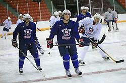 Marjan Manfreda, Mitja Robar, and Miha Rebolj at practice of Slovenian national team at Hockey IIHF WC 2008 in Halifax,  on May 04, 2008 in Metro Center, Halifax, Canada.  (Photo by Vid Ponikvar / Sportal Images)