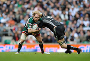 Twickenham, GREAT BRITAIN,   Leicesters' Andy GOODE tackled by Ryan JONES, during the EDF Energy Cup Final rugby match,  Leicester Tiger vs Ospreys, at Twickenham Stadium, Surrey on Sat 12.04.2008 [Photo, Peter Spurrier/Intersport-images]