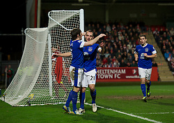 CHELTENHAM, ENGLAND - Monday, January 7, 2013: Everton's Leon Osman celebrates scoring the third goal against Cheltenham Town with team-mate Leighton Baines and Seamus Coleman during the FA Cup 3rd Round match at Whaddon Road. (Pic by David Rawcliffe/Propaganda)