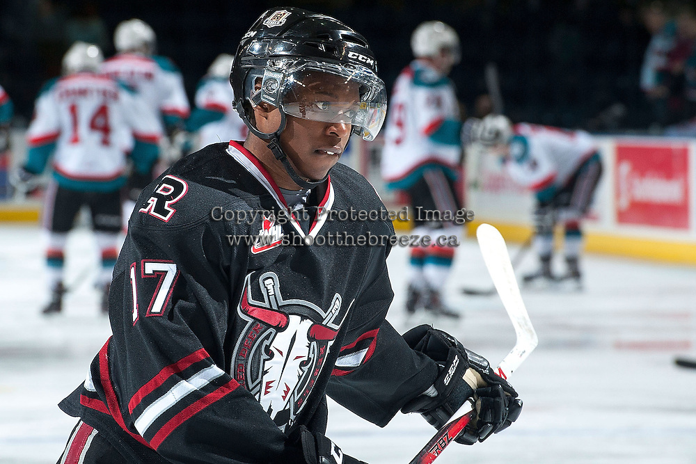 KELOWNA, CANADA -FEBRUARY 5: Vukie Mpofu LW #17 of the Red Deer Rebels skates during warm up against the Kelowna Rockets on February 5, 2014 at Prospera Place in Kelowna, British Columbia, Canada.   (Photo by Marissa Baecker/Getty Images)  *** Local Caption *** Vukie Mpofu;