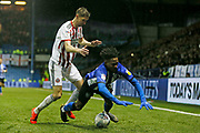 Sheffield Wednesday midfielder Rolando Aarons (39)  is fouled by Sheffield United midfielder Chris Basham (6)  during the EFL Sky Bet Championship match between Sheffield Wednesday and Sheffield United at Hillsborough, Sheffield, England on 4 March 2019.