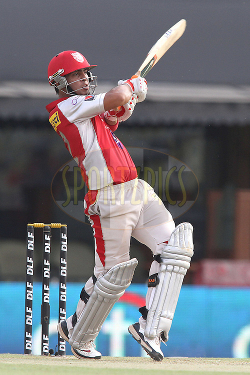 Mandeep Singh of the Kings XI Punjab pulls a delivery to the boundary during match 33 of the the Indian Premier League (IPL) 2012  between The Kings X1 Punjab and The Mumbai Indians held at the Punjab Cricket Association Stadium, Mohali on the 25th April 2012..Photo by Shaun Roy/IPL/SPORTZPICS