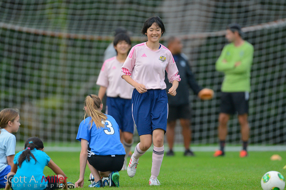 JFA Academy Fukushima training with FKK players and others at Ward Pard on Dec. 28, 2014 in Winter Park, Florida. <br /> <br /> &copy;2013 Scott A. Miller)