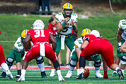 NORMAL, IL - October 05: Trey Lance in the shotgun during a college football game between the ISU (Illinois State University) Redbirds and the North Dakota State Bison on October 05 2019 at Hancock Stadium in Normal, IL. (Photo by Alan Look)