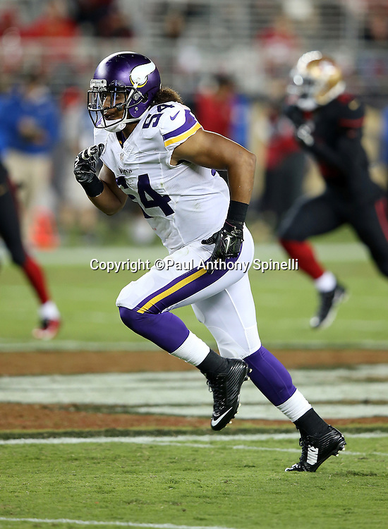 Minnesota Vikings rookie inside linebacker Eric Kendricks (54) runs down field on special teams kick coverage during the 2015 NFL week 1 regular season football game against the San Francisco 49ers on Monday, Sept. 14, 2015 in Santa Clara, Calif. The 49ers won the game 20-3. (©Paul Anthony Spinelli)