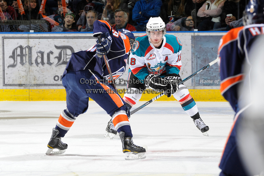KELOWNA, CANADA, FEBRUARY 11: Shane McColgan #18 of the Kelowna Rockets faces off as the Kamloops Blazers visit the Kelowna Rockets on February 11, 2012 at Prospera Place in Kelowna, British Columbia, Canada (Photo by Marissa Baecker/Shoot the Breeze) *** Local Caption ***