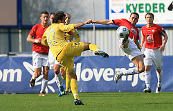 Diego Coronel of Domzale vs Renato De Moraes of Rudar at 26th Round of Slovenian First League football match between NK Domzale and NK Rudar Velenje in Sports park Domzale, on April 4, 2009, in Domzale, Slovenia. (Photo by Vid Ponikvar / Sportida)