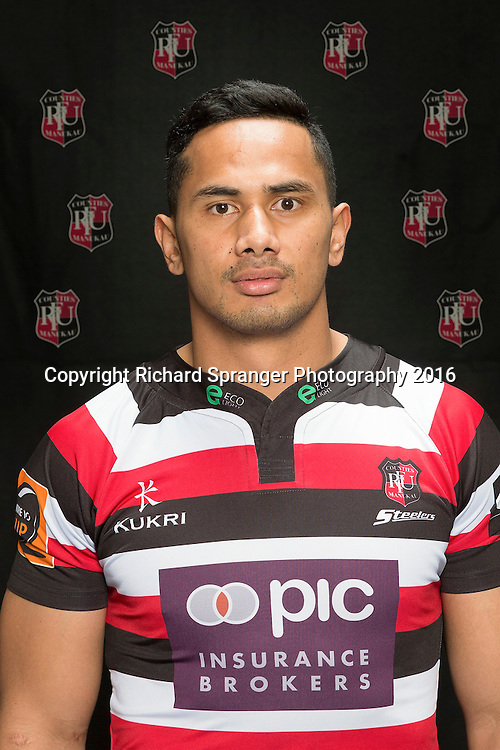 Toni Pulu.<br /> Headshots of the Counties Manukau Steelers rugby team to compete in the 2016 season of the Mitre 10 Cup Premiership.<br /> Photo credit: www.boprugby.co.nz