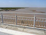 Uzbekistan, Khorezm Province. Bridge across Amu-Darya river.