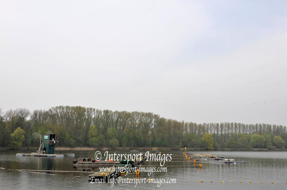 Hazewinkel, BELGIUM,  GV  Staring area GB Rowing Senior Trials at the Bloso Rowing Centre.  Sunday 12.04.2009 [Mandatory Credit. Peter Spurrier/Intersport Images]