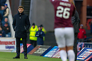 Steven Gerrard, manager of Rangers FC during the Ladbrokes Scottish Premiership match between Rangers FC and Heart of Midlothian FC at Ibrox Park, Glasgow, Scotland on 1 December 2019.