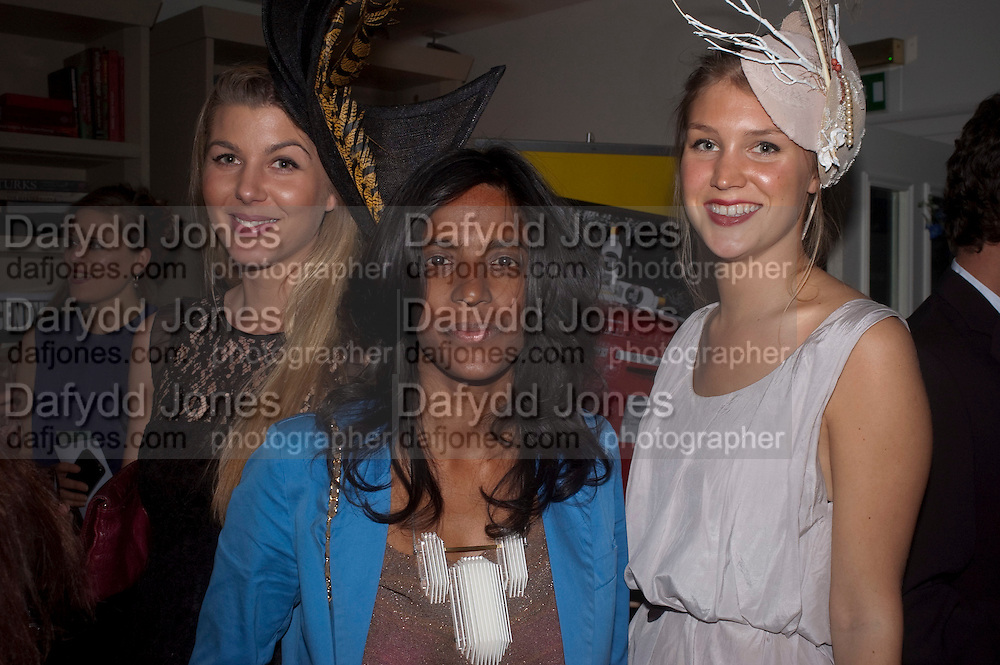 ANNA COLLETT; CHARMAINE PONNUTHURAI; ELIZABETH NYGAARD; , WEARING HATS BY KATHRYN ELIZABETH, London On A Plate - launch of new iPhone app.<br /> Morton's Club, 28 Berkeley Square,  London, 1 June 2011<br /> <br /> <br />  , -DO NOT ARCHIVE-© Copyright Photograph by Dafydd Jones. 248 Clapham Rd. London SW9 0PZ. Tel 0207 820 0771. www.dafjones.com.