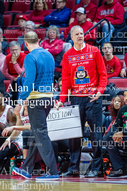 "NORMAL, IL - December 07: Brian Jones sports his ""not a player"" nutcracker sweater on ugly Christmas sweater night during a college basketball game between the ISU Redbirds and the Morehead State Eagles on December 07 2019 at Redbird Arena in Normal, IL. (Photo by Alan Look)"