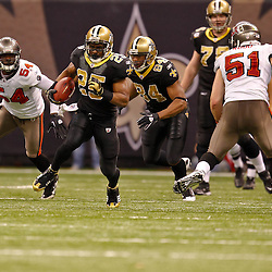 January 2, 2011; New Orleans, LA, USA; New Orleans Saints running back Reggie Bush (25) runs against the Tampa Bay Buccaneers during the third quarter at the Louisiana Superdome. Mandatory Credit: Derick E. Hingle