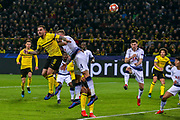 Borussia Dortmund forward Paco Alcácer (9) heads towards goal during the Champions League round of 16, leg 2 of 2 match between Borussia Dortmund and Tottenham Hotspur at Signal Iduna Park, Dortmund, Germany on 5 March 2019.