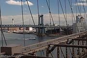 View of the Manhattan Bridge from the Brooklyn Bridge, New York