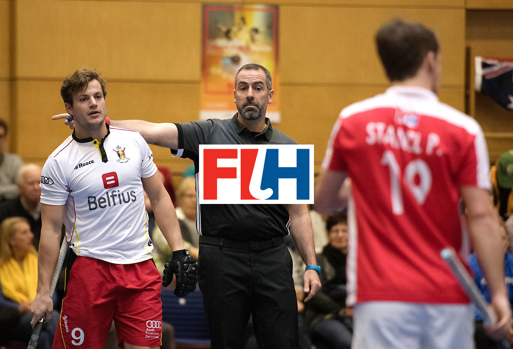 BERLIN - Indoor Hockey World Cup<br /> Austria - Belgium<br /> foto: PLENNEVAUX Maxime and Umpire MARTINEZ Luis<br /> WORLDSPORTPICS COPYRIGHT FRANK UIJLENBROEK