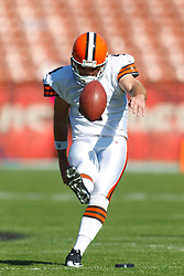 Oct 30, 2011; San Francisco, CA, USA; Cleveland Browns kicker Phil Dawson (4) warms up before the game against the San Francisco 49ers at Candlestick Park. San Francisco defeated Cleveland 20-10. Mandatory Credit: Jason O. Watson-US PRESSWIRE