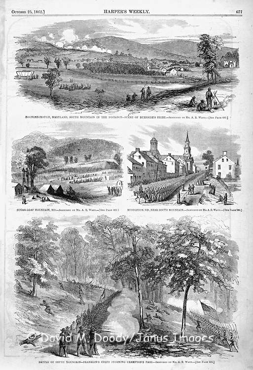 Civil War:Harper's Weekly October 25, 1862  Fighting in Boonesborough, Maryland   Battle of South Mountain at Crampton's Pass by Franklin's Corps Page 677 Middletown, Maryland and Sugar-Loaf Mountain, Maryland.