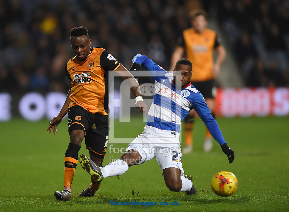 x of Queens Park Rangers and y of Hull City during the Sky Bet Championship match at the Loftus Road Stadium, London<br /> Picture by Daniel Hambury/Focus Images Ltd +44 7813 022858<br /> 01/01/2016