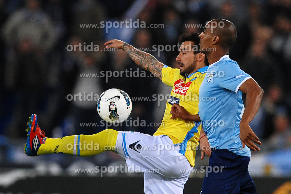 07.04.2012, Olympiastadion, Rom, ITA, Serie A, Lazio Rom vs SSC Neapel, 31. Spieltag, im Bild Ezequiel Lavezzi Napoli, Abdoulay Konko Lazio // during the football match of Italian 'Serie A' league, 31th round, between Lazio Rom and SSC Neapel at Olympic Stadium, Rome, Italy on 2012/04/07. EXPA Pictures © 2012, PhotoCredit: EXPA/ Insidefoto/ Andrea Staccioli..***** ATTENTION - for AUT, SLO, CRO, SRB, SUI and SWE only *****