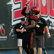 02 September 2017: San Diego State Aztecs running back Rashaad Penny #20 celebrates after rushing the ball for a touchdown in the second quarter. The Aztecs lead the Aggies 24-3 at the half at Qualcomm Stadium in San Diego, California. <br /> www.sdsuaztecphotos.com