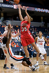 Davidson forward Julia Paquette (35) shoots over Virginia guard Enonge Stovall (40).  The Virginia Cavaliers women's basketball team defeated the Davidson Wildcats 83-68 at the John Paul Jones Arena in Charlottesville, VA on December 20, 2007.