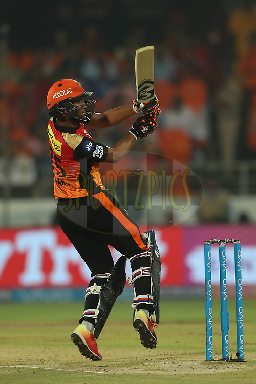 Shakib Al Hasan of the Sunrisers Hyderabad during match twenty five of the Vivo Indian Premier League 2018 (IPL 2018) between the Sunrisers Hyderabad and the Kings XI Punjab  held at the Rajiv Gandhi International Cricket Stadium in Hyderabad on the 26th April 2018.<br /> <br /> Photo by: Ron Gaunt /SPORTZPICS for BCCI