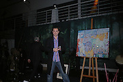 SASHA JAFRI NEXT TO HIS PAINTING. Why Not?  in aide of the orphans of the Rwandan genocide. Westbourne Studios. 24 November 2005. ONE TIME USE ONLY - DO NOT ARCHIVE  © Copyright Photograph by Dafydd Jones 66 Stockwell Park Rd. London SW9 0DA Tel 020 7733 0108 www.dafjones.com
