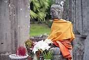 A statue of Buddha near the main temple at Ankor Wat, Cambodia.
