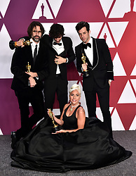 Andrew Wyatt, Anthony Rossomando, Mark Ronson and Lady Gaga, winners of Best Original Song for Shallow from A Star is Born, in the press room at the 91st Academy Awards held at the Dolby Theatre in Hollywood, Los Angeles, USA.