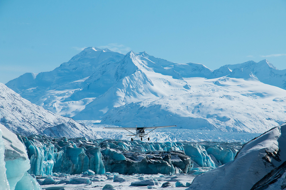 Cessna 172 checking out the Knik Glacier. Small bush planes are a way of life in Alaska. Most of the state has no roads and airplanes are the only way.  N73917