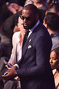 LAS VEGAS, NV - AUGUST 26:  NBA player LeBron James  attends the super welterweight boxing match between Floyd Mayweather Jr. and Conor McGregor on August 26, 2017 at T-Mobile Arena in Las Vegas, Nevada. Mayweather won by 10th-round TKO. (Photo by Jeff Bottari/Zuffa LLC/Zuffa LLC via Getty Images)