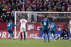 May 9, 2018 - Seville, Spain - SERGIO RAMOS of Real Madrid (L) hits the goal post launching a penalty during the La Liga soccer match between Sevilla FC and Real Madrid at Sanchez Pizjuan Stadium (Credit Image: © Daniel Gonzalez Acuna via ZUMA Wire)