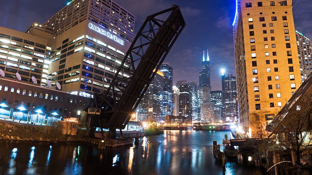 The Willis (Sears) tower is seen from along the Chicago River.