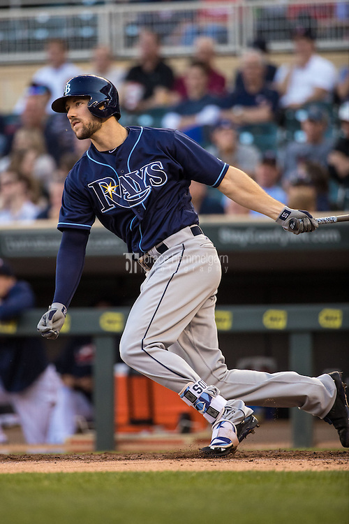 MINNEAPOLIS, MN- JUNE 02: Steven Souza Jr. #20 of the Tampa Bay Rays bats against the Minnesota Twins on June 2, 2016 at Target Field in Minneapolis, Minnesota. The Twins defeated the Rays 6-4. (Photo by Brace Hemmelgarn) *** Local Caption *** Steven Souza Jr.