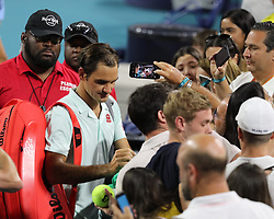 March 23, 2019 - Miami Gardens, Florida, United States Of America - MIAMI GARDENS, FLORIDA - MARCH 23:  Roger Federer day 6 of the Miami Open Presented by Itau at Hard Rock Stadium on Saturday on March 23, 2019 in Miami Gardens, Florida..People: Roger Federer. (Credit Image: © SMG via ZUMA Wire)