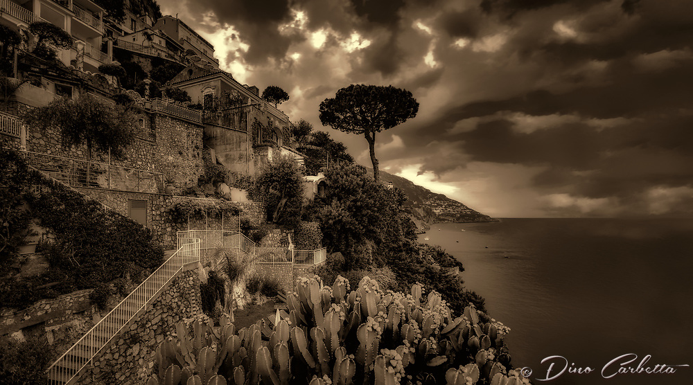 &ldquo;Evening view from the deck of Hotel California Positano - BW&rdquo;&hellip;<br />