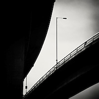 flyover with tall modern street lamp, Halifax, UK