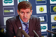 A furious Rangers Manager Steven Gerrard  give his post match interview to the assembled press following his sides disappointing exit from the Scottish Cup, Loosing to Aberdeen 2-0 at Ibrox in the William Hill Scottish Cup quarter final replay, Glasgow, Scotland on 12 March 2019.