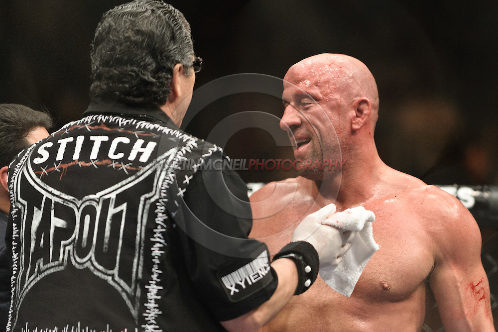 "LAS VEGAS, NEVADA. JULY 11, 2009: Mark Coleman (right) is pictured after winning his fight at ""UFC 100: Making History"" inside the Mandalay Bay Events Center in Las Vegas, Nevada."