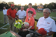 The late Jimmy Arrington, former coach at Lafayette High, was recognized during a pre-game ceremony vs. Memphis Trezvant in Oxford, Miss. on Friday, August 27, 2010. Lafayette wore stickers with the initials JA on their helmets to honor the coach. Lafayette won 35-16 to improve to 2-0.