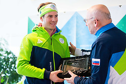 Zan Kosir and Bogdan Gabrovec during Arrival of Zan Kosir, Bronze medalist at Olympic Games in Pyeongchang 2018, on February 26, 2018 in Aerodrom Ljubljana, Letalisce Jozeta Pucnika, Kranj, Slovenia. Photo by Ziga Zupan / Sportida