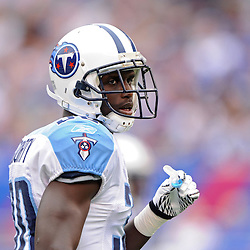 Defensive back Jason McCourty #30 of the Tennessee Titans looks on during first half NFL football action between the New York Giants and Tennessee Titans at New Meadowlands Stadium in East Rutherford, New Jersey. The game is tied at half time.