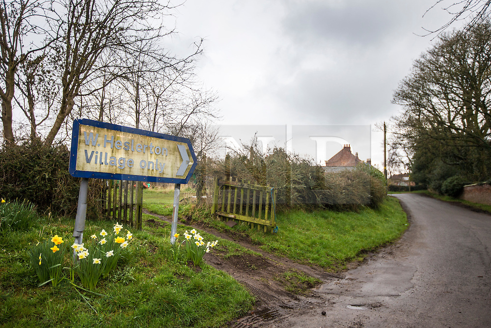 © Licensed to London News Pictures. 03/04/2016. West Heslerton UK. The quintessential Yorkshire village of West Heslerton is up for sale at a price of £20M. The estate has a 21 bedroom historic hall, 43 houses, a pub, garage, church & playing fields. Former owner Miss Eve Dawnay died five years ago & she left a perfectly preserved village that has been untouched for 50 years. Her family are now selling the estate & hopefull of finding a buyer who will share Miss Dawnay's wish to conserve a bucolic way of life. Photo credit: Andrew McCaren/LNP